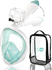 Snorkel Mask Full Face Update Lighter Easier Breathe No Leaking Fogging Folded 180° Panoramic View with Camera