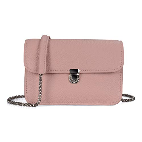 (Befen Women Leather Small Crossbody Bag Cute Hipster Envelope Crossbody Purse with Metal Chain Strap (Blush Pink))