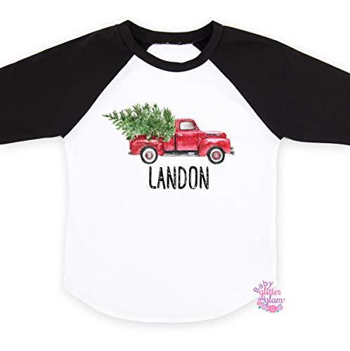 Christmas Truck Shirt Personalized Kids Christmas Raglan Gift