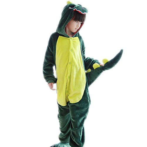 Dinosaur Onesie Sleepwear for Kids Costume Halloween Hooded Jumpsuit With Pockets