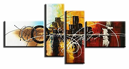 Abstract City Canvas Wall Art 4 Panel Hand Painted Colorful Cityscape Oil Painting Stretched and Framed Ready to Hang Bedroom Office Decoration (Cityscape Painting)