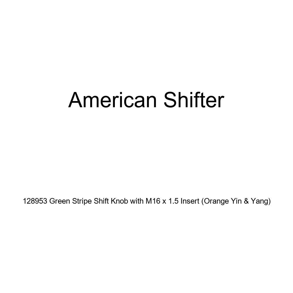 American Shifter 128953 Green Stripe Shift Knob with M16 x 1.5 Insert Orange Yin /& Yang