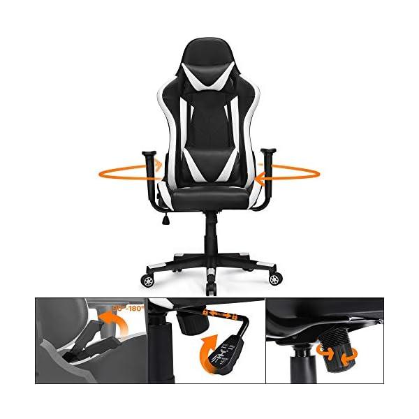 Yaheetech Chaise de Gaming Ergonomique Fauteuil Gamer pour Bureau Dossier Inclinable 180 Degrée Réglable Rembourré…