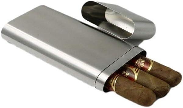 XSWY Caso Elegante del Estilo del Cigarrillo, de Acero Inoxidable Caja de cigarro, elípticas portátiles, 3 Piezas, la Caja de cigarros portátil, Cepillado de la Superficie. (Color : Silver): Amazon.es: Equipaje