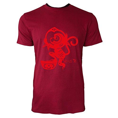 SINUS ART® Roter Scherenschnitt mit Affen Herren T-Shirts in Independence Rot Fun Shirt mit tollen Aufdruck