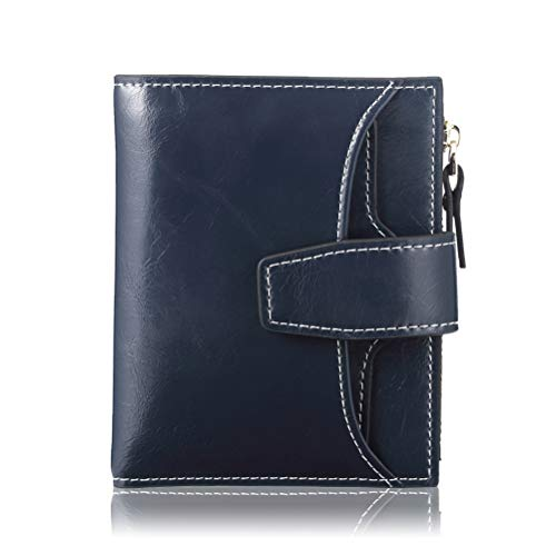 FT FUNTOR RFID Leather Wallet for women,Ladies Small Compact Bifold Pocket Wallet with id Window Blue