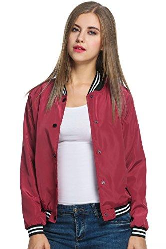 Cravog Mode Zippe A Veste Baseball Femme De 2016 Bordeaux Longue Classique Jacket Manche Up Nouvelle Pour Bomber UrFrxwqE7