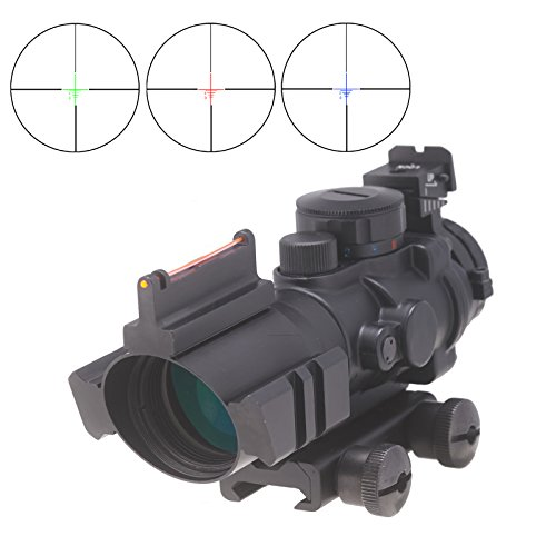 Pinty 4X32 Tactical Rifle Scope with Top Fiber Optic Sight Red-Green-Blue Trip Illuminated BDC Reticle