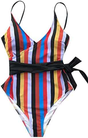 f627e5750f CUPSHE Women's Tropic of Discusssion Stripe Front Cross One Piece Swimsuit