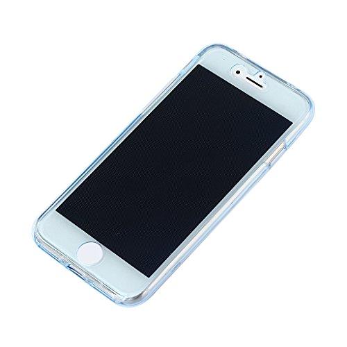 MagiDeal Shockproof Hybrid Back + Front Cover Phone Case Telefon Premium Schutzhülle Für IPhone 7 Klar Blau