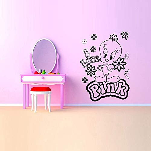 Quote Vinyl Wall Decal Sticker Art Removable Words Home Decor I Love Pink Poster Bird Duck Cartoon Removable Wall Stickers for Nursery Kids Room Wallpaper Art
