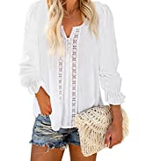 SHEWIN Women Casual Lace Crochet Blouses Tops Loose Button-Down Shirts