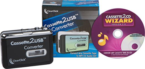 ClearClick Cassette Tape to USB Converter with Cassette2CD Wizard 2.0 Software (Free USA Tech Support) (Cassette To Cd Conversion)