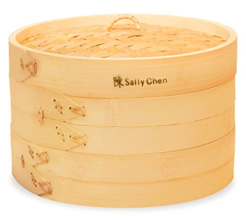 Bamboo Oriental Gyoza Steamer 10 Inch with BONUS two Pairs Chopsticks, Premium Chinese Food Steaming Basket, 2 Tier for Vegetables and More by Sally Chen by Sally Chen (Image #5)