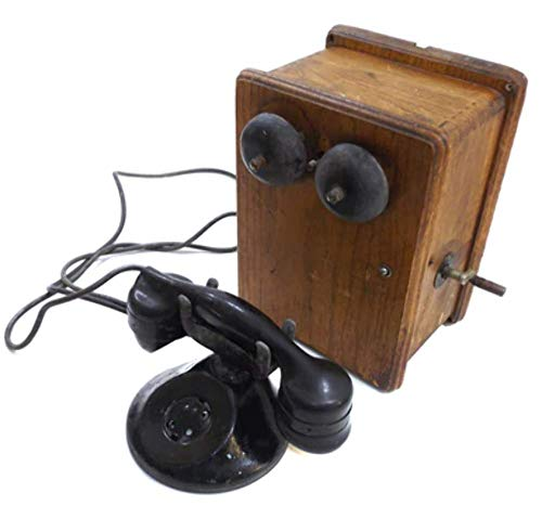 (Antique Automatic Electric Monophone & Stromberg Carlson Wooden Telephone Ringer Box)