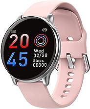 SmartWatch com Monitor Cardíaco, Monitor de Sono e Pressão Sanguínea para iOS e Android,rosa/Tiras de silicone