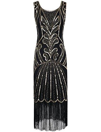 PrettyGuide Women 1920s Dress Beads Art Deco Inspired Cocktail Flapper Dress