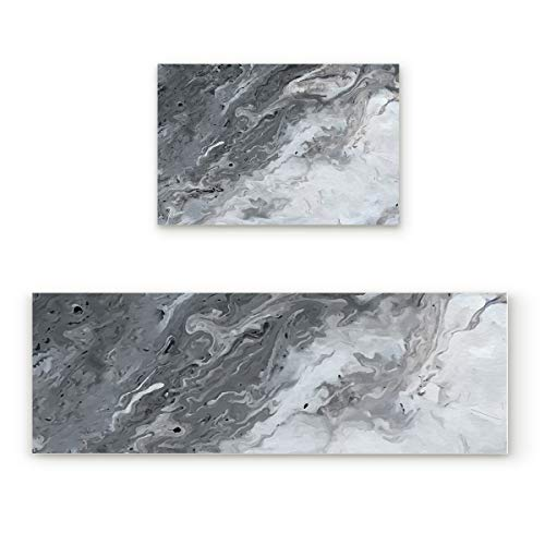Lightrain Abstract Marble 2 Piece Doormat Hallway Kitchen Runner Rug Carpet (Non-Slip) Rubber Backing Area Rug Set Floor Mat