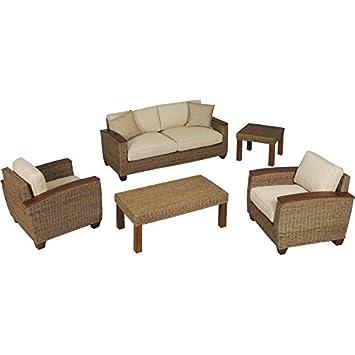Salón 5 Piezas (Abaca y Madera Teca 2 sillones con Cojines 1 ...