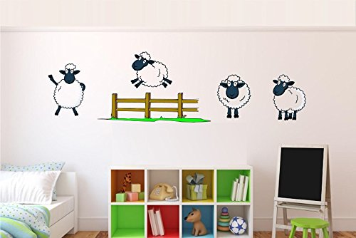 MCARTWORK Design Decals Kid's Wall Counting Sheep Decal Cute for Nursery Vinyl Sticker Room Decoration