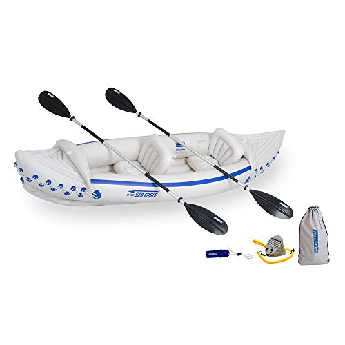 (Sea Eagle 330 Deluxe 2 Person Inflatable Sport Kayak Canoe Boat w/ Pump & Oars )