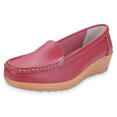 Labato Women's Casual Leather Loafers Slip-On Slippers Driving Flat Shoes #Wine Red#