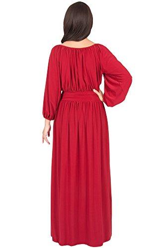 KOH KOH® La Mujer Vestido maxi con cinturon manga larga Rojo Crimson