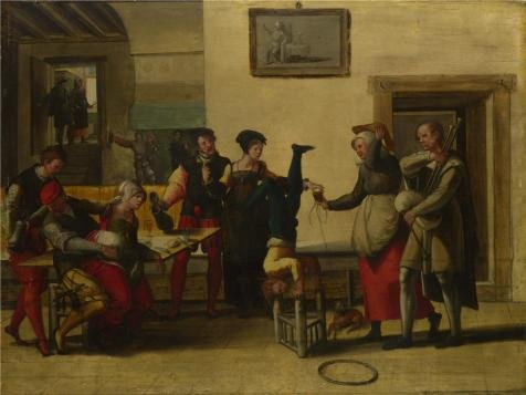 Polyster Canvas ,the Imitations Art DecorativeCanvas Prints Of Oil Painting 'After The Brunswick Monogrammist - Itinerant Entertainers In A Brothel,1550s', 24x32 Inch / 61x81 Cm Is Best For Bar Decoration And Home Gallery Art And Gifts