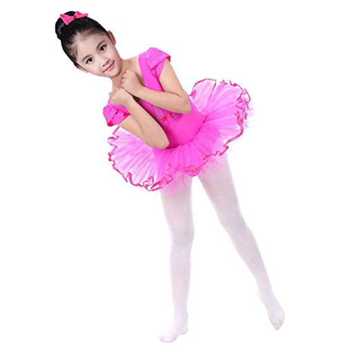 Lurryly Toddler Girls Gauze Leotards Ballet Bodysuit Dancewear Dress Clothes Outfits (Size:4T,Label Size:120/XXL, Hot Pink) from Lurryly