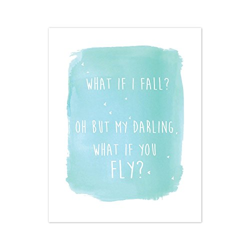 Giclee Art Matte (Motivational Wall Art, Inspirational Wall Decor, Nursery Decor, What If You Fly in Blue, 16x20 Inch Print Wall Art)