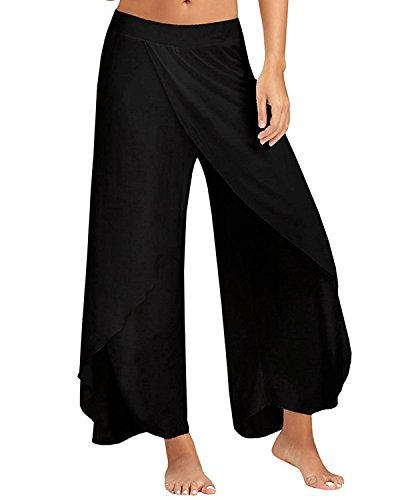 ZANZEA Women's High Split Layered Wide Leg Solid Flowy Cropped Palazzo Casual Pants Trousers Black US - Palazzo Pants Cropped