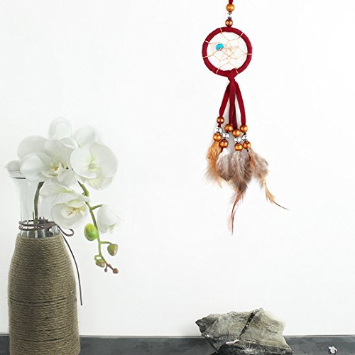 Dream Catcher for Car Mirror, Handmade Decoration Wall Hanging, Red Dream Catcher with Feather Beads, Indian Style, Hanging Ornament,14.17inch Long