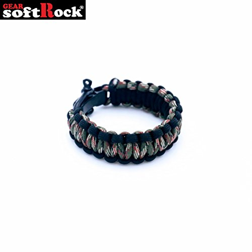 (Softrock Gear ST-SRG-PB-AGC4-BLK-2T Paracord Survival Bracelet with Stainless Steel Shackle, Color: Army Green Camo/Black (2-Tone))