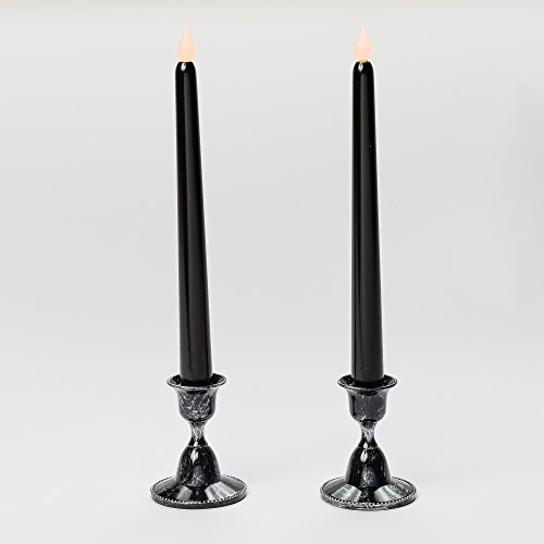 Candle Halloween Taper (Mr. Light Pair of Black Spooky Tapers with Dark Holders and Built-in Timers, 10.25 Inch)