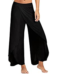 Women's Pants Cropped Palazzo Wide Leg High Split Layered Solid Flowy Casual Trousers