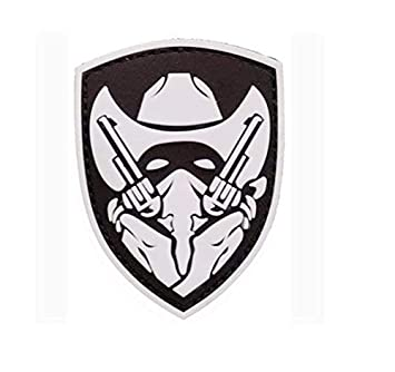 Masked cowboy gunfighter desert tactical army airsoft 3d pvc patch.