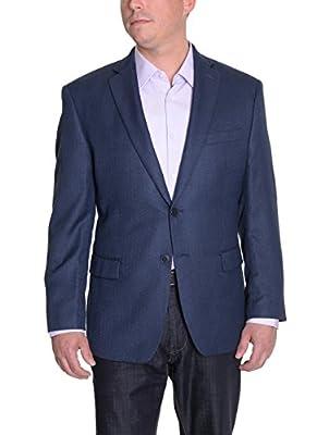 Calvin Klein Slim Fit Navy Blue Herringbone Two Button Blazer Sportcoat