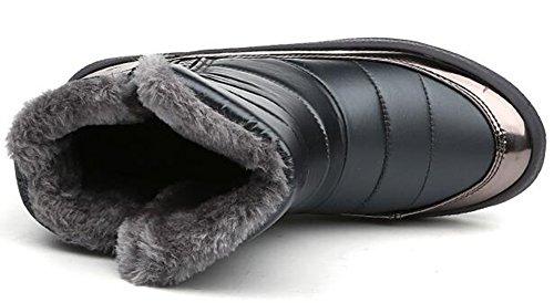 Zomerwhisper Damesshirt Met Warme Fleece Gevoerde Zijrits Plateaus Anti Slip Korte Snowboots Schoenen Grijs