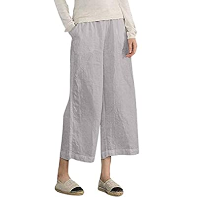 OWMEOT Womens Casual Loose Plus Size Elastic Waist Cotton Trouser Cropped Wide Leg Pants