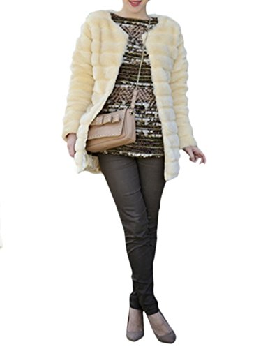 Outwear Cheveux en Vlunt Fur Manteau coloured Longs Shaggy Faux Gilet Gilet Fourrure Gilet Femmes Coat Fausse Cream BF0w1qO