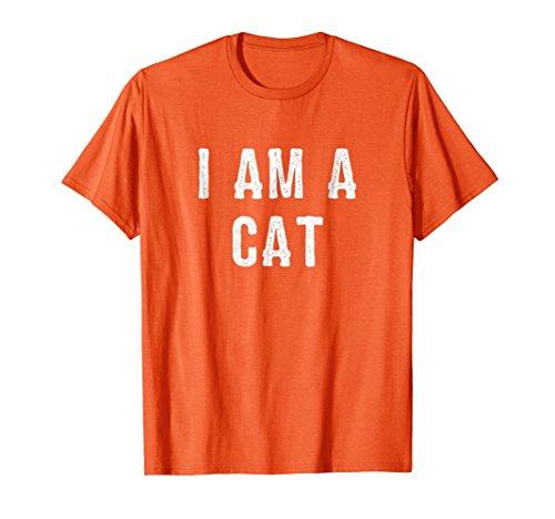 Mens I Am a Cat Halloween T Shirt Easy Costume Idea Medium Orange