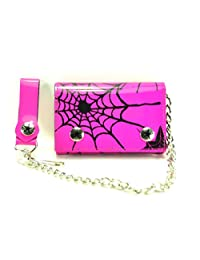 """Spider Net Shiny Patent Tri-fold Bikers Wallet with 16"""" Chain"""