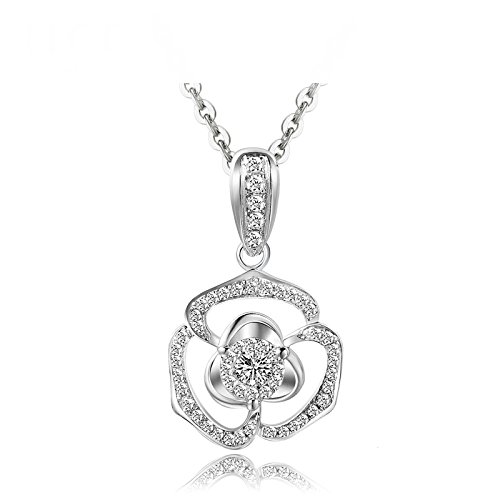 Beydodo Women Necklace 18k Real Gold Round Cut Diamond Necklace for Wedding Flower Pendant White Gold by Beydodo