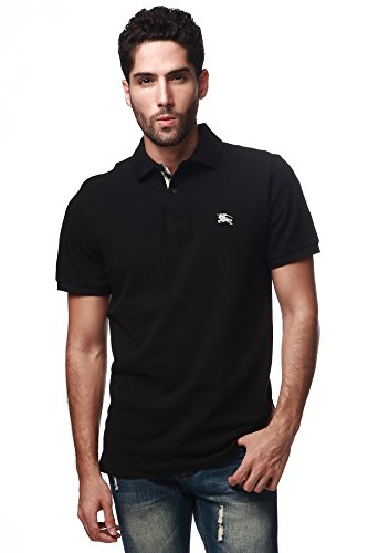 Burberry Men's Solid Black Short Sleeve Cotton Pique Logo Basic T-shirt Polo - Burberry Brit Logo