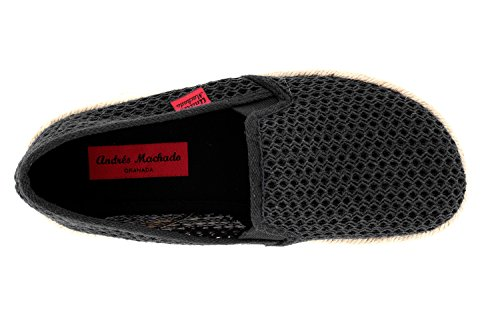 Andrés Zapatos borde Slip Machado Caucho 44 Am500 Talla on Unisex Negro Tela Yute Color Con De dnHwPx