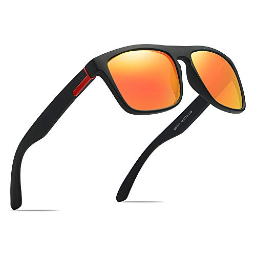 Polarized Sports Sunglasses Driving Glasses Shades for Men Square Box Sun glasses Guy's Classic Design All-Fit Mirror Sunglasses With Brand Box ()