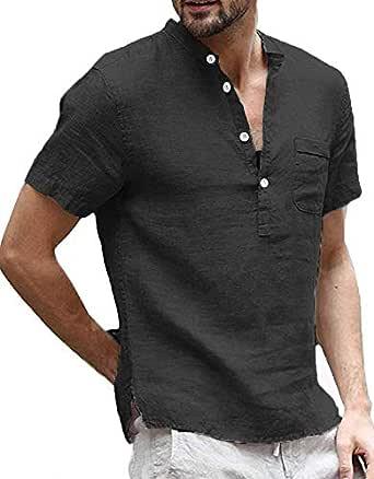Runcati Mens Linen Short Sleeve T Shirt Casual Summer Beach Cotton Button Up Lightweight Tees Plain Banded Collar Tops Henley Shirts - Black - Medium