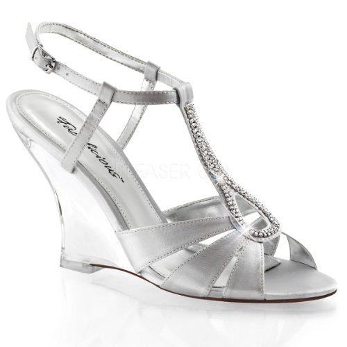Satin Wedge Back LOVELY Sandal Silver Clear Fabulicious T Strap Sling 420 PxzCwq