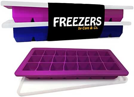 Easy Release Silicone Ice Cube Trays with Lid, Set of 2, 21 Cubes Each,