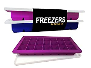 "Easy Release Silicone Ice Cube Trays with Lid, Set of 2, 21 Cubes Each,FREEZERS 2.0"", Minimal Dilution!"